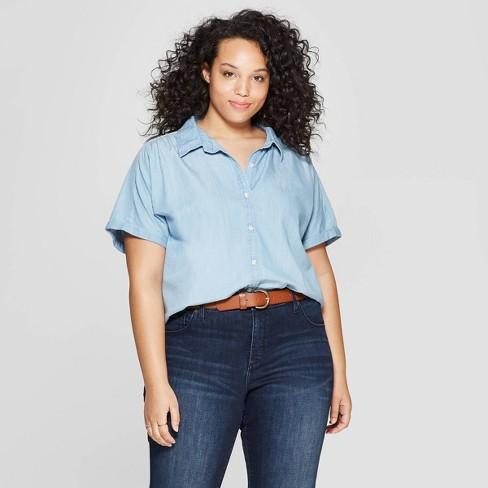 7f4a8435f8a68 Women s Plus Size Short Sleeve Collared Denim Camp Shirt - Universal Thread™  Light Blue