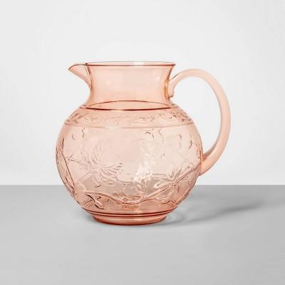 3qt Plastic Floral Embossed Beverage Pitcher Pink - Opalhouse™