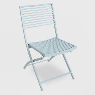 Metal Slat Patio Bistro Chair Light Green - Project 62™