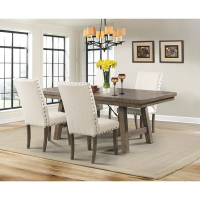 Dex 5pc Dining Set Table, 4 Upholster Side Chairs Walnut Brown/ Cream    Picket House Furnishings