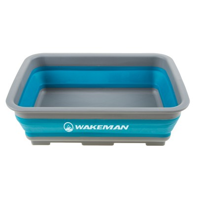 Wakeman 10lt Collapsible Portable Camping Wash Basin - Blue