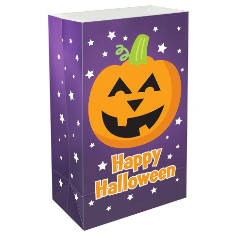 12ct Plastic Luminaria Bags- Pumpkin - image 1 of 2