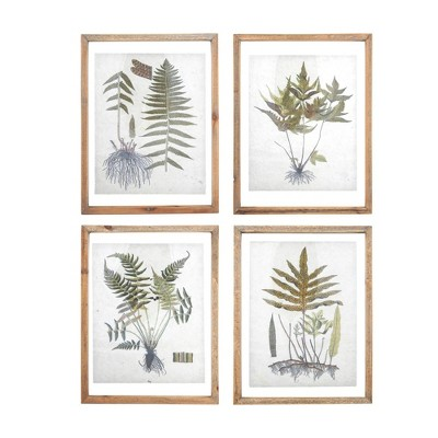Set of 4 Styles Botanical Print on Textured Material with Wood Frame Wall Art - 3R Studios