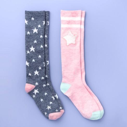 Girls' 2pk Knee High Flip Sequin Star Print Socks - More Than Magic™ Pink - image 1 of 2