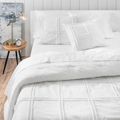 Full/Queen 3pc Skylar Chenille Comforter Set White - Martha Stewart