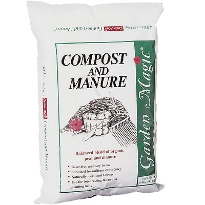 Michigan Peat 5240 Outdoor Lawn Garden Compost and Manure Blend for Fertilizin Soil Amendment in Planters, Raised Beds, and More, 40 Pound Bag