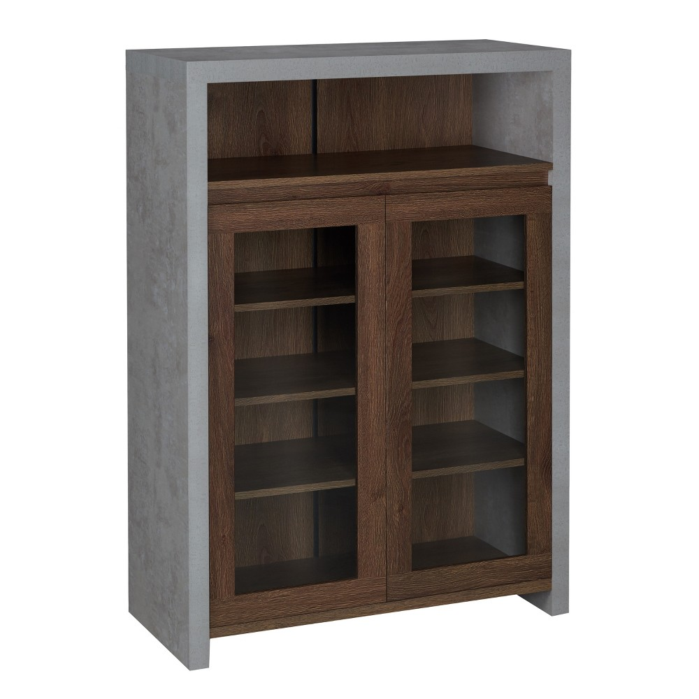 Image of Iohomes Biston Industrial 2-Shelf Shoe Cabinet Distressed Walnut - Homes: Inside + Out, Forest Brown