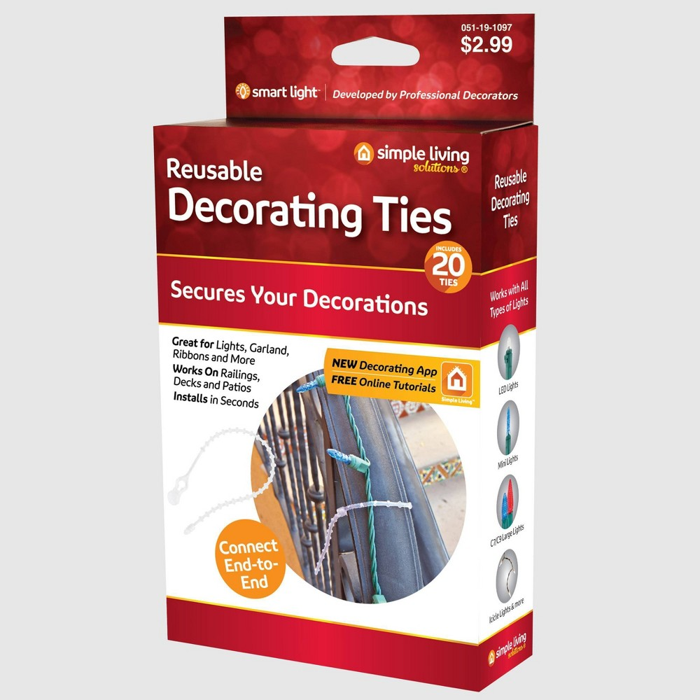 Image of Simple Living Solutions 20ct Reusable Decorating Ties, Clear