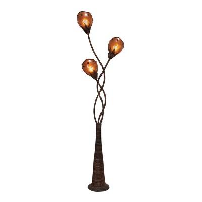 "70"" Abaca Triple Branch Floor Lamp - Olivia & May"
