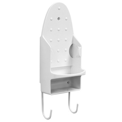 Home Basics Wall Mount Ironing Board with Built-In Accessory Hooks, White
