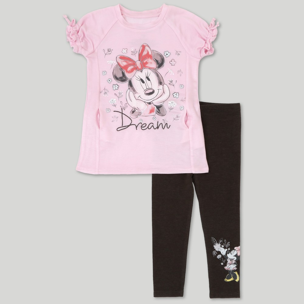 Toddler Girls' Disney Mickey Mouse & Friends Minnie Mouse Short Sleeve T-Shirt & Leggings Set - Pink 12M