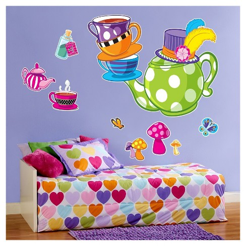 Topsy Turvy Tea Party Wall Decal - image 1 of 1