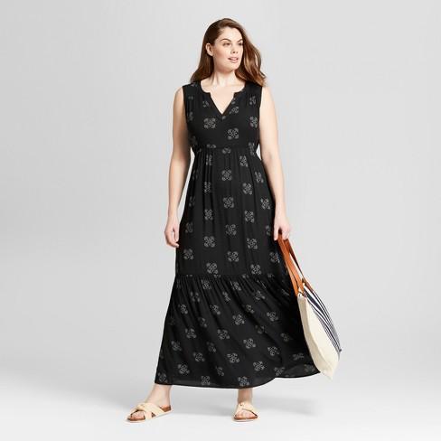 58aa1b7926f Women s Floral Print Plus Size Maxi Dress - Universal Thread™ Black ...