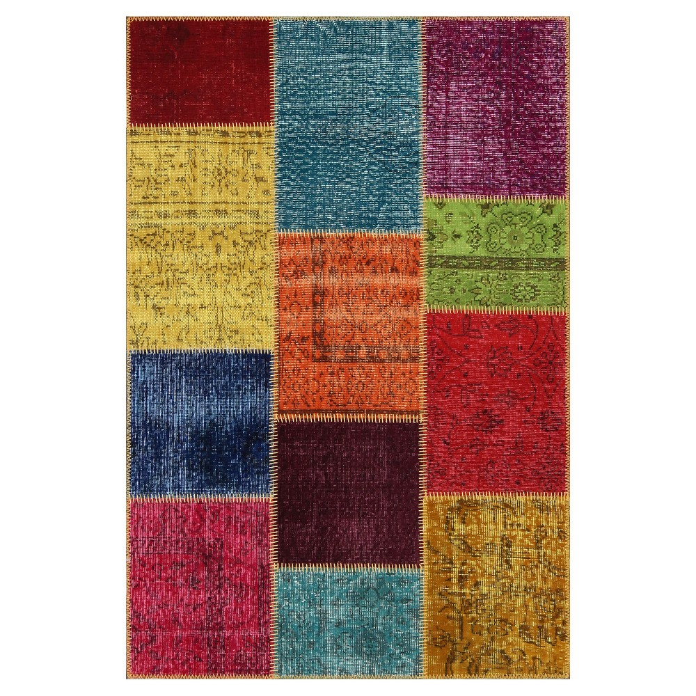 "Image of ""Antique Patchwork Accent Rug 3'11""""x 5'11"""", Multi-Colored"""