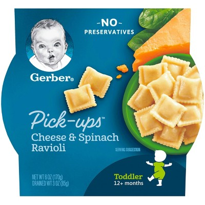 Gerber Toddler Pasta Pick-ups Cheese & Spinach Ravioli Baby Meals - 6oz
