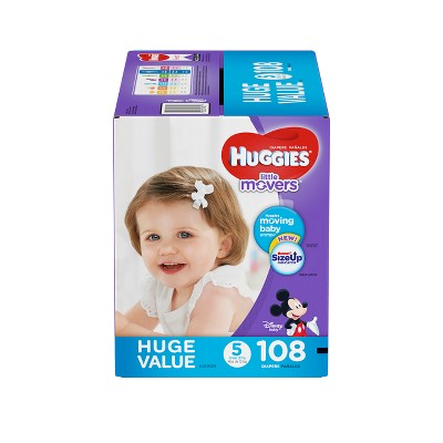Huggies Little Movers Diapers Huge Pack - Size 5 (108ct)