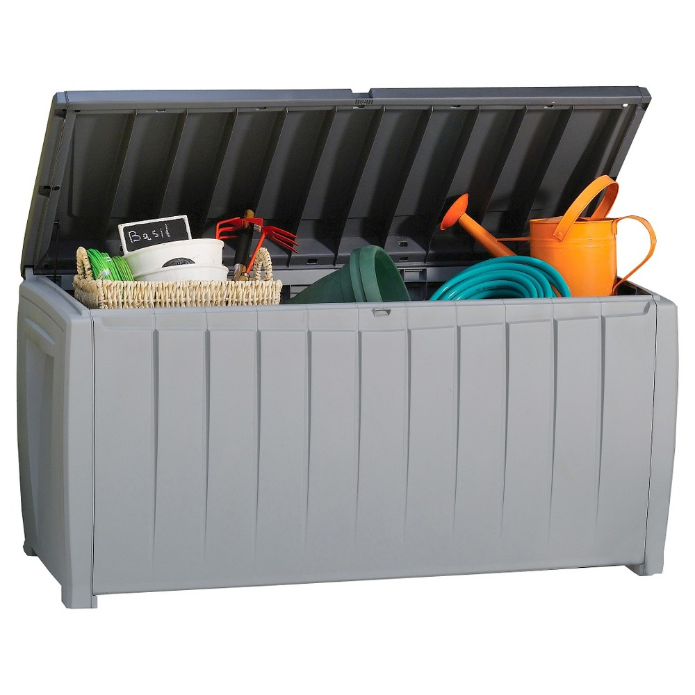 Image of Novel 90 Gallon Outdoor Storage Box - Gray/Black - Keter