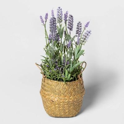 """15.5"""" x 6.5"""" Artificial Lavender Arrangement in Basket Purple - Threshold™"""