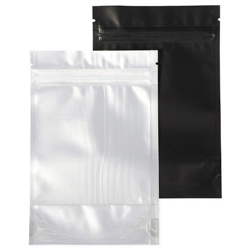 """Juvale 100-Pack Resealable Smell Proof Foil Pouch Bag, 4""""x 6"""" Reusable Flat Reclosable Storage Bags, Clear & Black - image 1 of 4"""