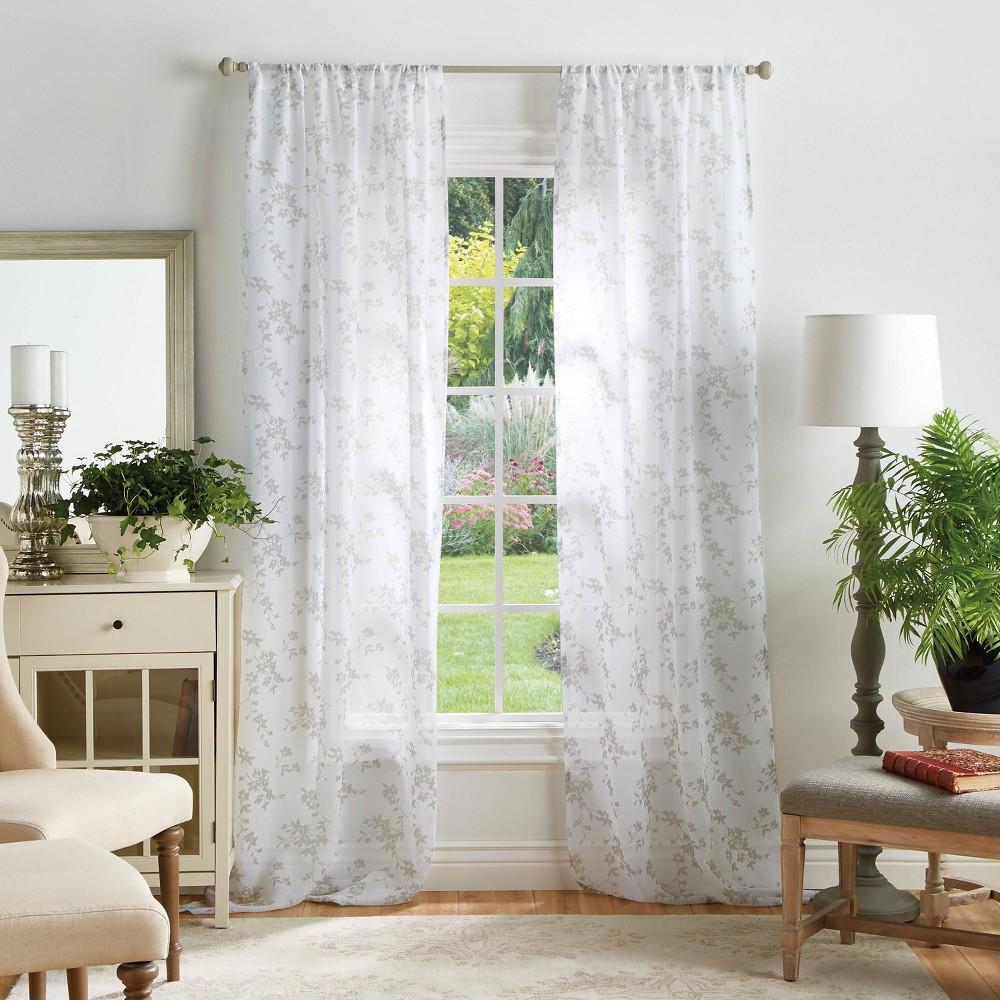Set Of 2 84 34 X37 34 Bellefield Floral Sheer Curtain Panels Off White Martha Stewart