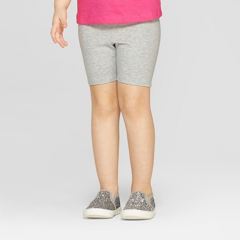 Toddler Girls' Bike Shorts - Cat & Jack™ Heather Gray with Glitter - image 1 of 3