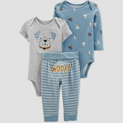 Baby Boys' 3pc Puppy Top & Bottom Set - Just One You® made by carter's Blue/Gray 3M