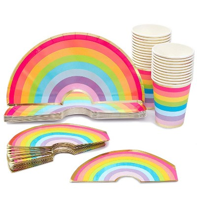 Blue Panda 72 pcs Pride Rainbow Party Supplies - Disposable Paper Plate, Napkin, Cup Serves 24