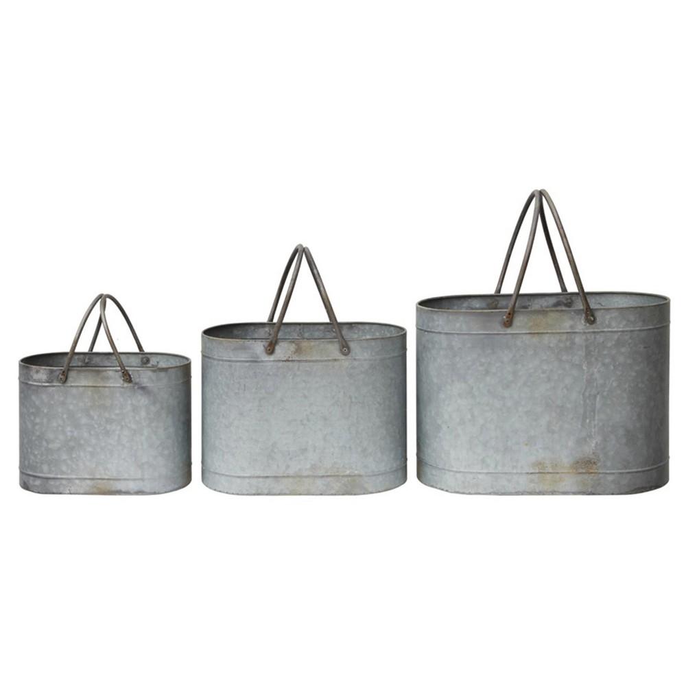Tin Bucket set of 3 (18-1/2L), Silver Gray