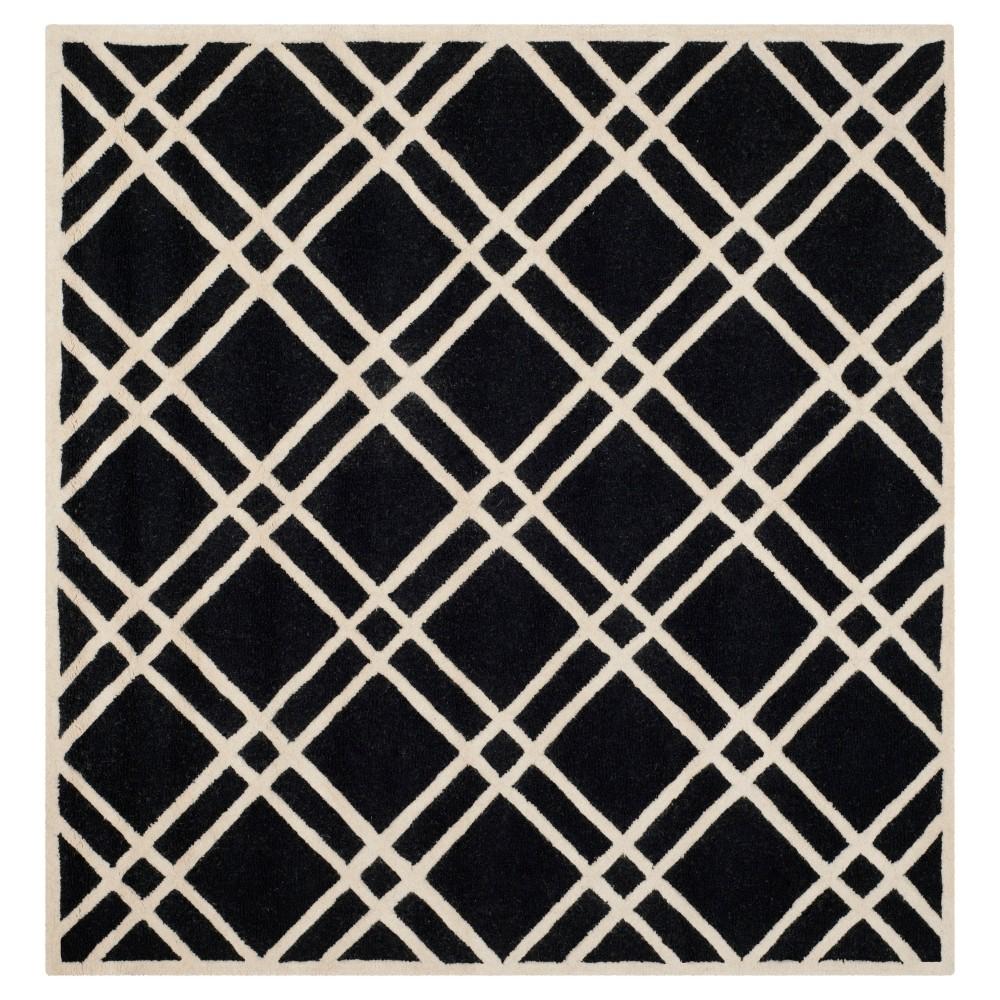 Frey Textured Wool Rug - Black / Ivory (8' X 8') - Safavieh, Black/Ivory