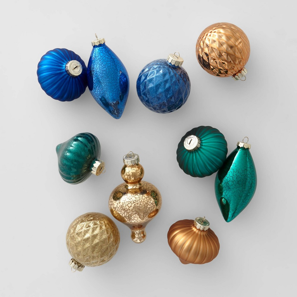 Image of 10ct Glass Assorted Christmas Ornament Set Blue Green Copper and Gold - Wondershop