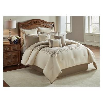 9pc King Hillcrest Comforter Set Ivory & Gold - Riverbrook Home