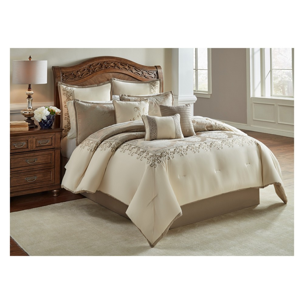 9pc King Hillcrest Comforter Set Ivory & Gold - Riverbrook Home, White Gold