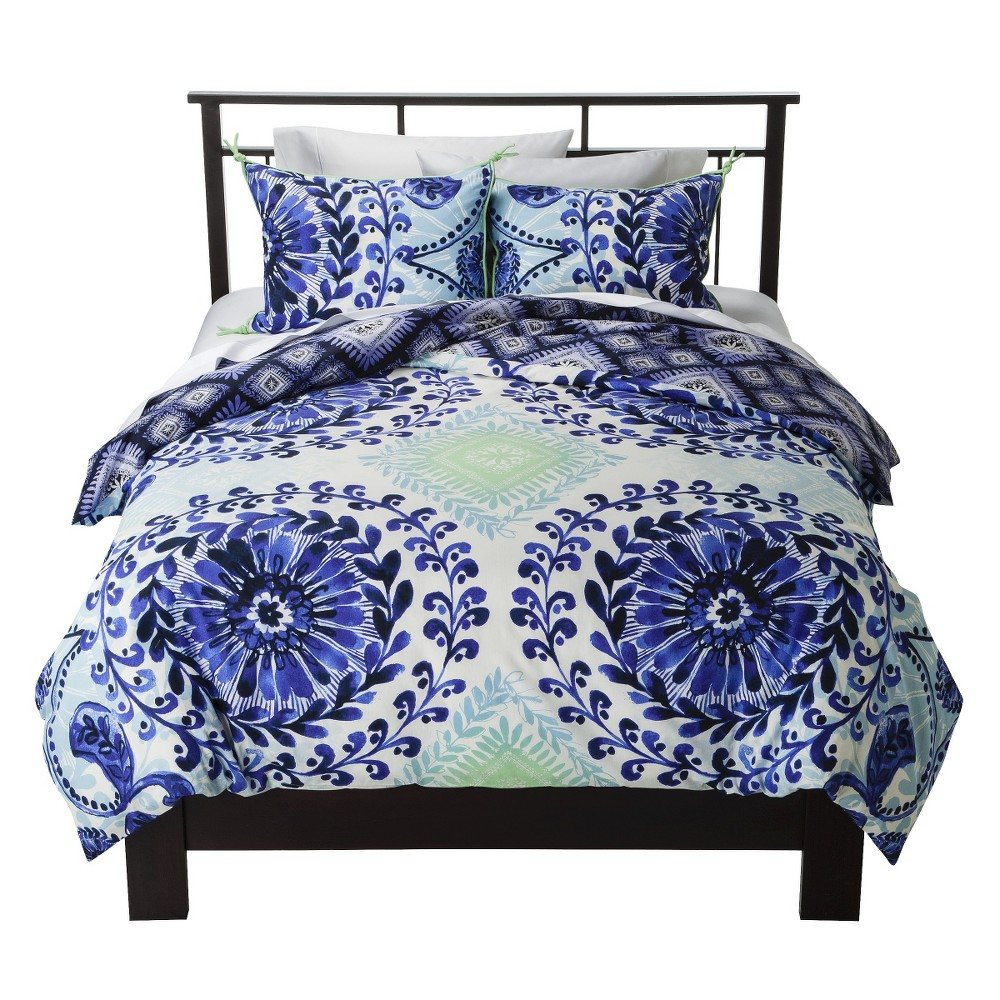 Image of Blue Haze Medallion Reversible Duvet Cover Set (Full/Queen) 3pc - Boho Boutique