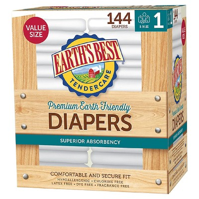 Earth's Best Tender Care Diapers Club Pack - Size 1 - 144ct