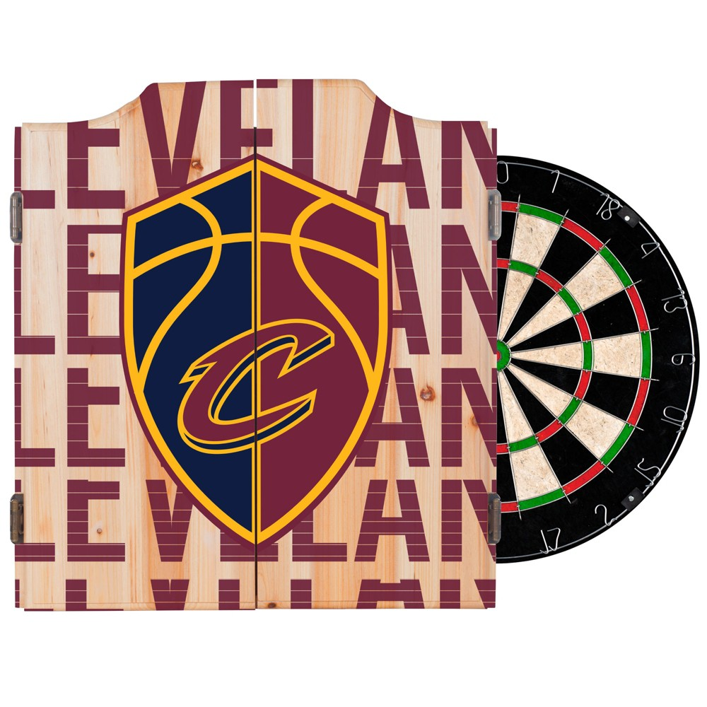 NBA Cleveland Cavaliers Dart Cabinet Set with Darts and Bristle Dart Board