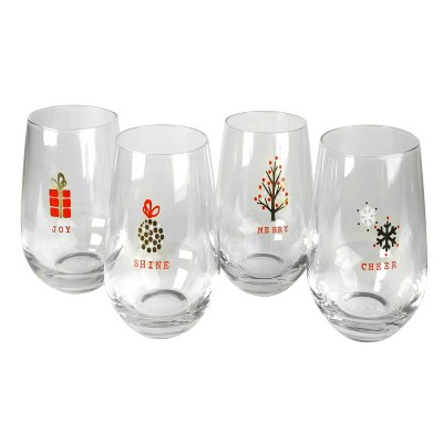 Artland Tidings Holiday 16 Ounce Stemless Wine Glass, Set of 4