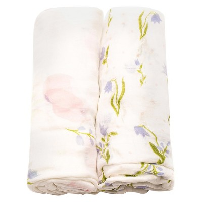 Little Unicorn Deluxe Cotton Muslin Blanket 2pk - Pink Peony