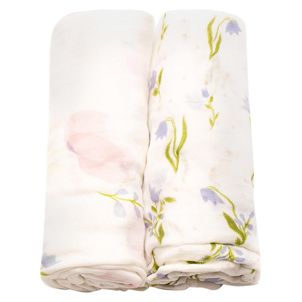 Little Unicorn Deluxe Cotton Muslin Blanket 2pk - Pink Peony, Multi-Colored