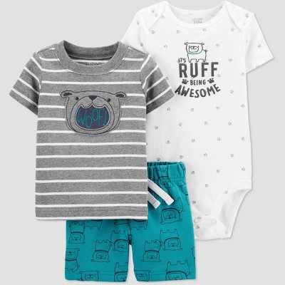 Baby Boys' Dog Top & Bottom Set - Just One You® made by carter's Teal/Gray/White 3M