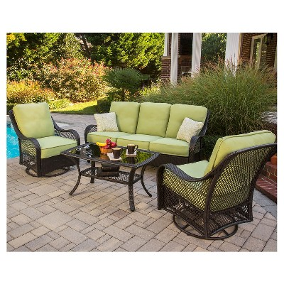 Orleans 4 Piece Wicker Patio Conversation Furniture Set