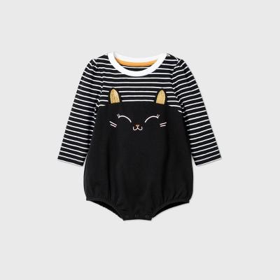 Baby Girls' Striped Cat Bubble Romper - Cat & Jack™ Black 3-6M