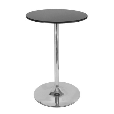 Polished Steel Round Bar Table Wood/Black - Winsome