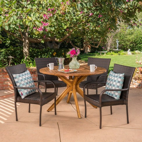 Avoca 5pc Acacia & Wicker Dining Set - Teak/Brown - Christopher Knight Home - image 1 of 4