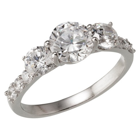 Silver Plated Fancy Cut Cubic Zirconia Engagement Ring - Size 6 - image 1 of 1