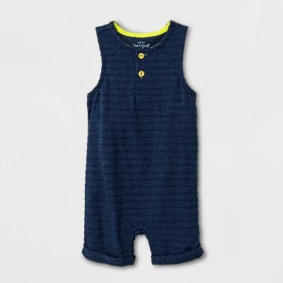 Baby Boys' Sleeveless Romper - Cat & Jack™ Navy 0-3M