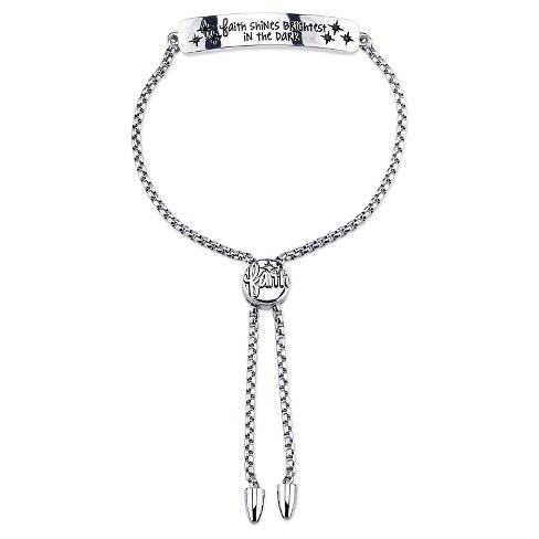 """Women's Stainless steel faith shines bright in dark slide bracelet - silver (8"""") - image 1 of 1"""