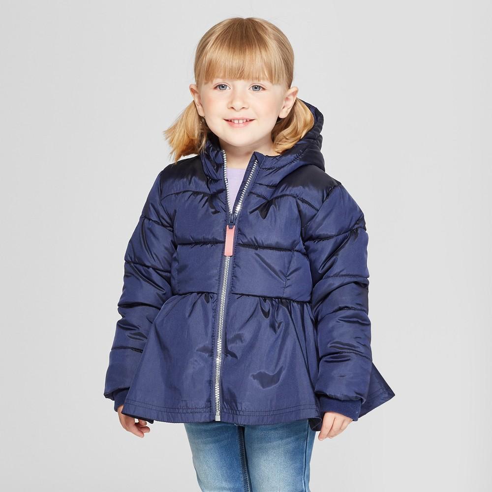 Toddler Girls' Puffer Jacket - Cat & Jack Blue 12M