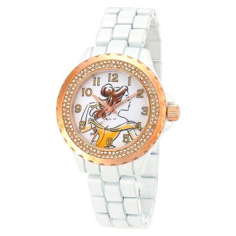 Women's Disney® Belle Bezel Enamel Sparkle Watch - White - image 1 of 2