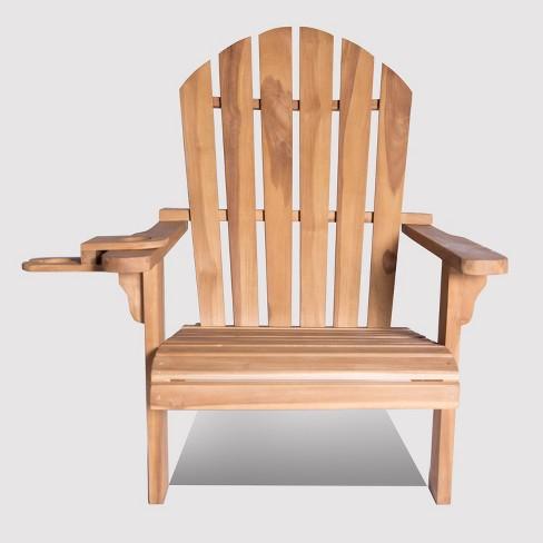 Redondo Teak Wood Adirondack Chair with Wine Holder - LuXeo - image 1 of 6