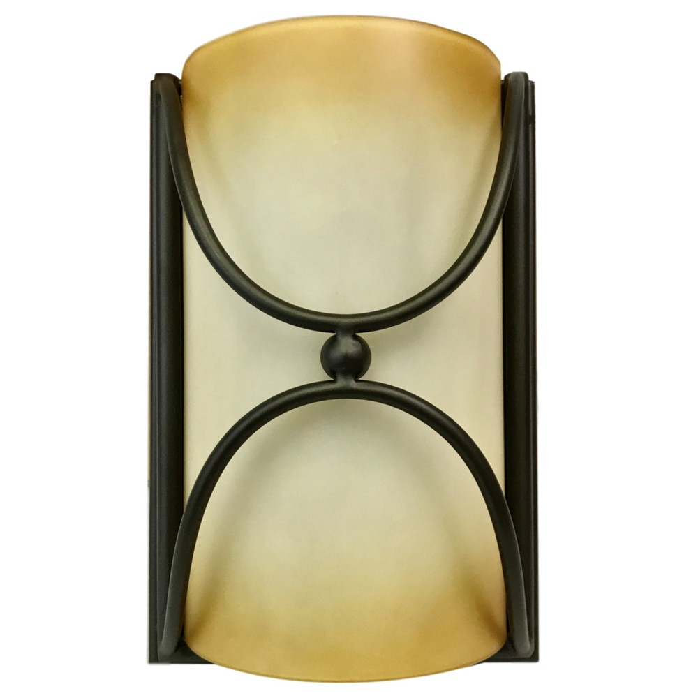 "Image of ""Rustic Wall Sconce with Amber Ombre Glass Shade Bronze 9"""" - Thr3e Lighting"""